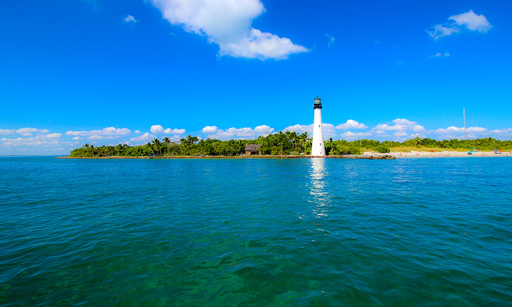 the Cape Florida Light is visible on the Lighthouse of Biscayne Bay cruise.