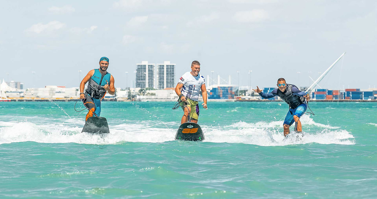 A group of rides have a blast experiencing the Jetsurf in Miami.