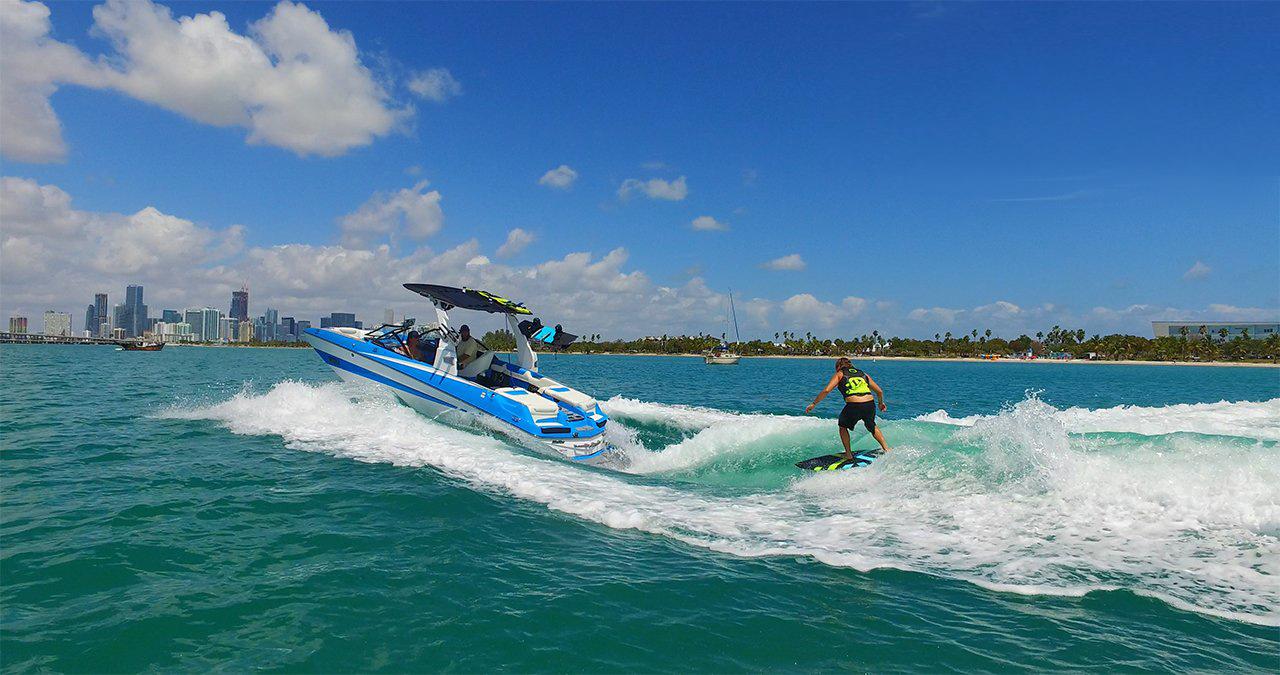 Enjoy a day wake surfing with Miami Wake Academy.