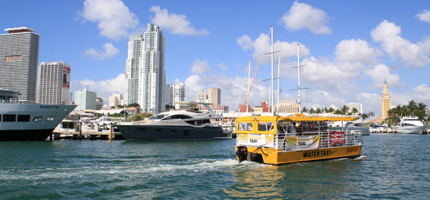 Take a Water Taxi in Miami and enjoy the views while commuting between Bayside Marketplace and Miami Beach.