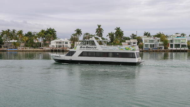 The wine cruise in Miami will be hosted on the a boat while cruising Biscayne Bay.