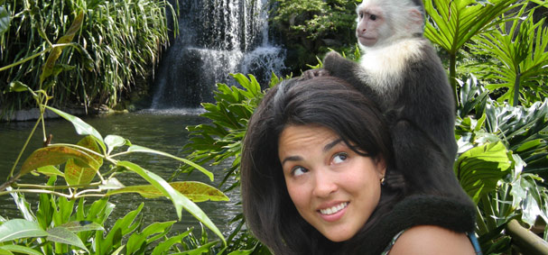 Take a photo next to your own Monkey at Jungle Island.