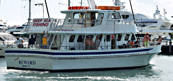 A public fishing cruise departs for a day of deep sea fishing off of the Miami coastline.