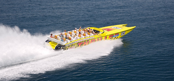 An aerial view of the Thriller Speedboat ride.