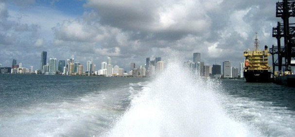 The Thriller Speedboat causes water to shot in the air due to its speed.